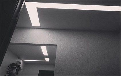 Световые линии на натяжных потолках в Краснодаре Небесный город
